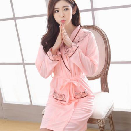 新款V领女士性感两件套春秋长袖纯棉花边气质睡袍浴袍家居服套装