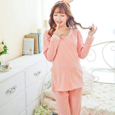 圆领套头纯棉春秋长袖睡衣女士月子服套装哺乳装产后喂奶衣