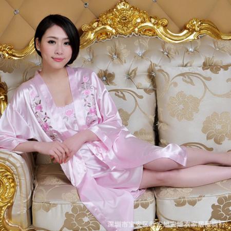 性感真丝女士长袖秋季两件套睡衣冬季家居服吊带奢华高贵中裙套装