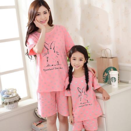 夏季新款女士短袖纯棉睡衣女热销少女儿童套头可爱母女家居服套装