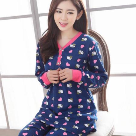 新款V领女士长袖修身纯棉质睡衣套头少女学生家居服外穿可爱套装
