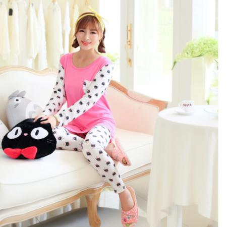 新品圆领套头可爱韩版女式长袖春秋季小脚裤睡衣家居服套装