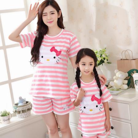新款夏季纯棉女士睡衣套头可爱小女孩儿童套装母女同款外穿家居服