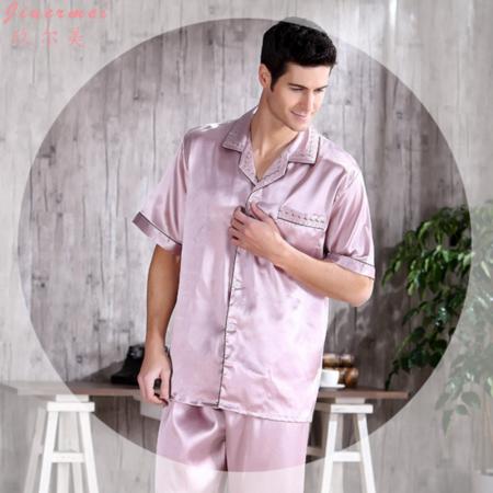 热销新款男士真丝短袖夏季睡衣开衫翻领休闲透气男士中年家居服