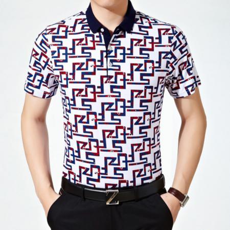 2016夏季新款男式t恤短袖 纯棉宽松中年男士碎花休闲t恤衫