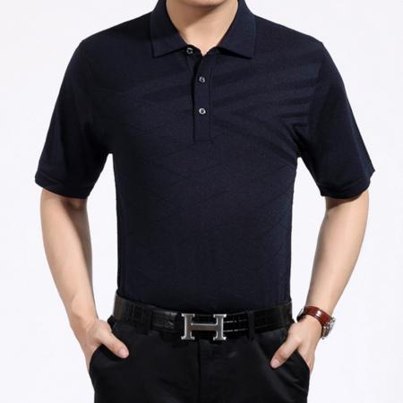 2016夏季新款爸爸装 中年男士高档桑蚕丝翻领男式短袖t恤衫
