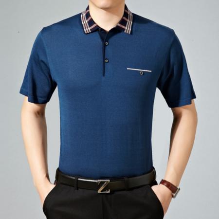 2016夏季新款男士翻领纯色短袖t恤桑蚕丝 宽松男装薄款针织衫