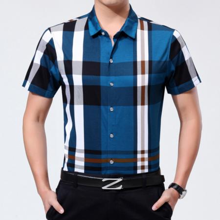 2016新品夏季男士格子衬衫 男装短袖衬衫中年男士商务免烫衬衣