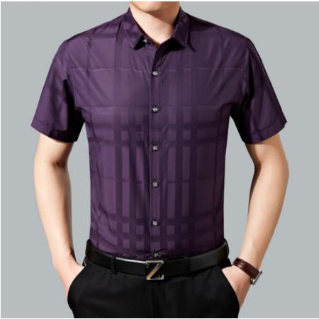 2016夏季新款丝光棉男式免烫衬衫 中年男士商务短袖衬衫纯色薄款