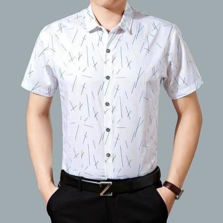 2016夏季新款男士短袖衬衫碎花 丝光棉商务免烫男式合体衬衫