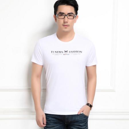 2016夏季新款男士短袖圆领t恤修身薄款 纯色烫钻韩版男装半袖