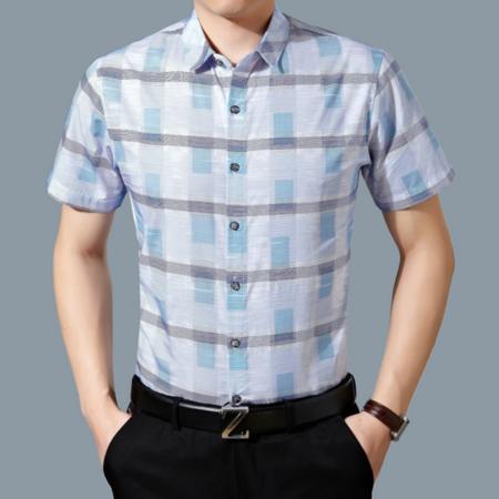 2016新品男式衬衫短袖 丝光棉商务免烫中年男士格子衬衫薄款夏装