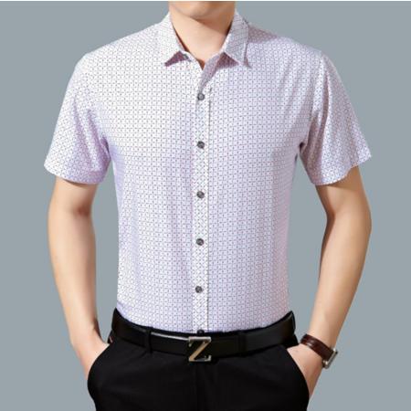 2016夏季新款竹纤维男士短袖衬衫 商务碎花男式免烫衬衣薄款