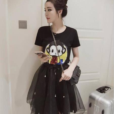 2016春夏韩版新款女装修身显瘦卡通T恤+网纱短裙套装女