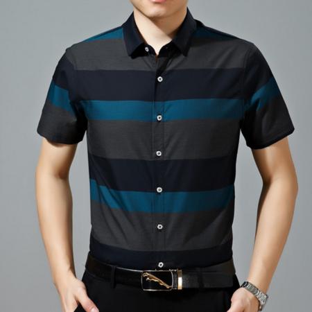 2016夏季男式短袖衬衫 休闲条纹丝光棉免烫男士衬衣