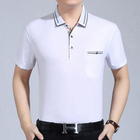 2016夏季男装新款批发 纯色丝光棉翻领男式商务短袖t恤薄款真口袋