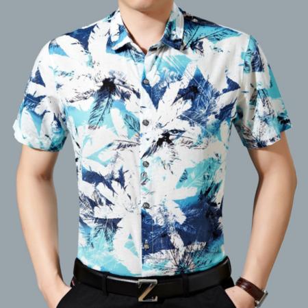 2016新品男士亚麻衬衫短袖 商务免烫男式印花衬衫薄款夏装