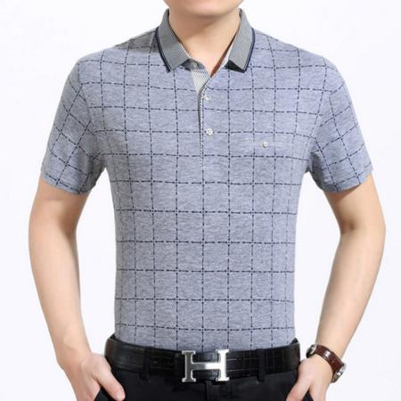 2016新品男式t恤翻领 中年男士短袖t恤衫纯棉印花商务夏装薄款