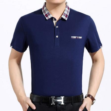 2016夏季新款男装短袖t恤 纯色翻领套头男式商务T恤纯棉薄款