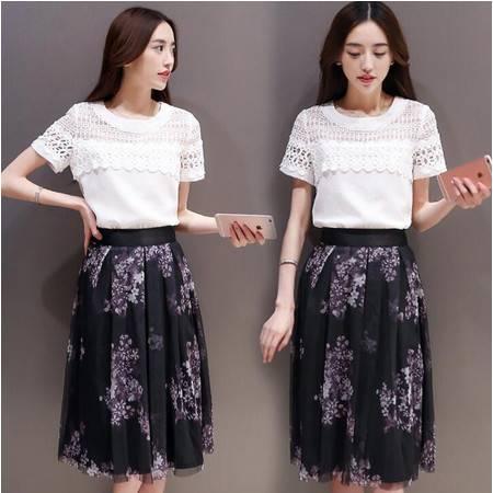 2016夏装韩版新款袖印花网纱裙两件套装裙子连衣裙女