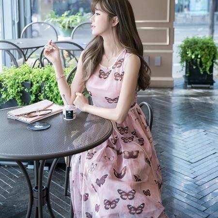 2016新款夏季韩版时尚蝴蝶时尚连衣裙高档印花长裙
