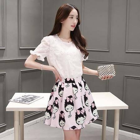 2016夏装韩版新款重工刺绣雪纺上衣+印花短裙套装裙韩版