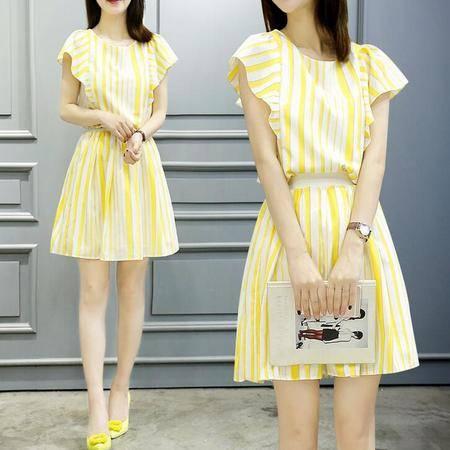 2016夏季新款 韩版新款连衣裙 夏季套装连衣裙女装