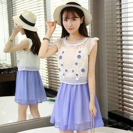 2016夏装新款韩版欧根纱女裙撞色两件连衣裙套装裙子女