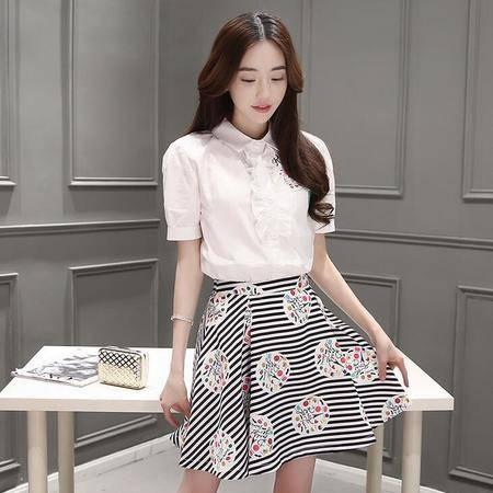 2016夏装韩版新款荷叶边印花短袖衬衣+印花短裙套装裙子