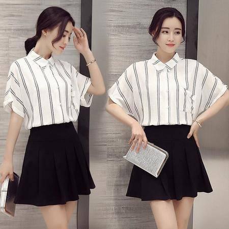 2016春夏新款韩版时尚条纹宽松夏季短袖衬衫上衣女