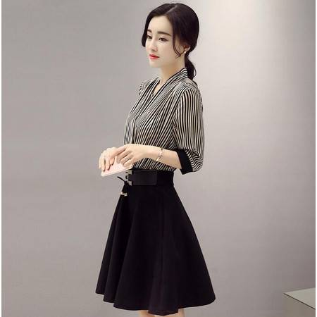 欧韩站2016春新款条纹中长款假两件连衣裙女装