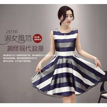 2016年夏季条纹无袖圆领修身松紧腰拼接中款套头时尚简约A字裙连衣裙