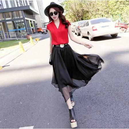 2016年夏季新款女士V领无袖T恤蕾丝透明半身裙两件套