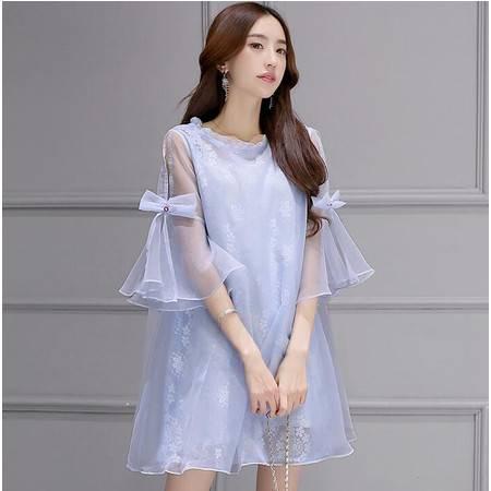 2016年春季新款女士纯色半透明中裙简约大气连衣裙