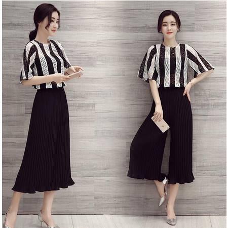 2016春款韩版潮流时尚条纹上衣休闲显瘦阔腿裤花边两件套