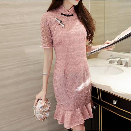 2016女装夏款韩版立领短袖蕾丝镂空显瘦鱼尾裙摆连衣裙