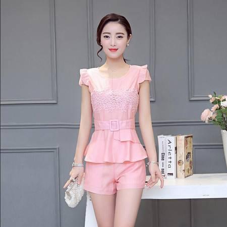 2016夏季新款女士耸肩圆领韩版修身显瘦电脑绣花裙边热裤两件套