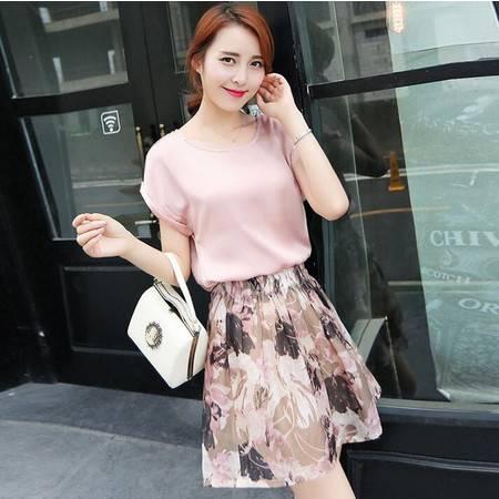 2016夏季新款女士时尚印花休闲修身裙装两件套