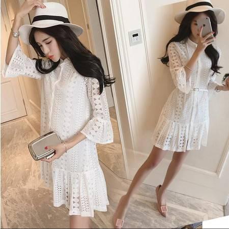 2016夏季韩版修身显瘦蕾丝镂空刺绣纯色七分袖连衣裙