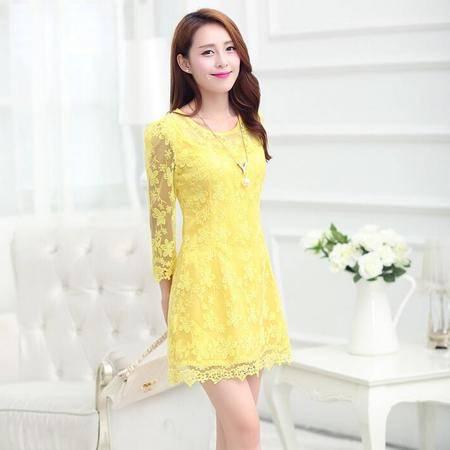 2016春装显瘦气质甜美女装正品新款修身连衣裙女装