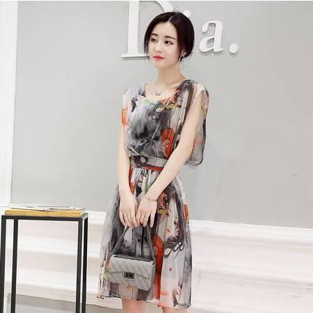 2016年夏季短袖中长款印花圆领性感大方连衣裙