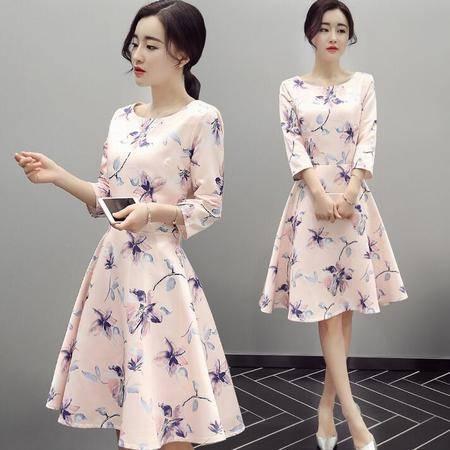 韩版女装2016新款春装七分袖修身a字型圆领套头精美印花裙子
