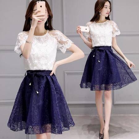 2016年夏季韩版圆领短袖上衣欧根纱中裙蕾丝绣花两件套