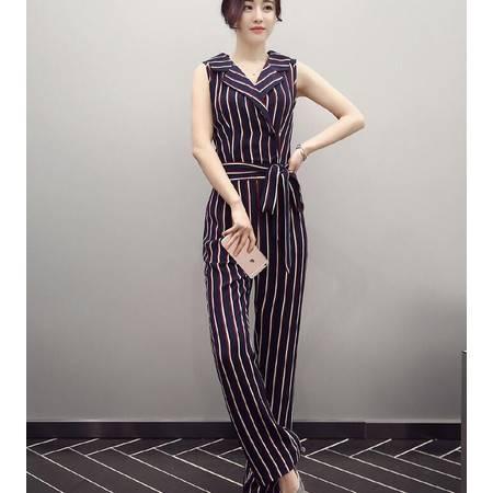 2016年新款夏季条纹翻领无袖潮流百搭连体裤韩版