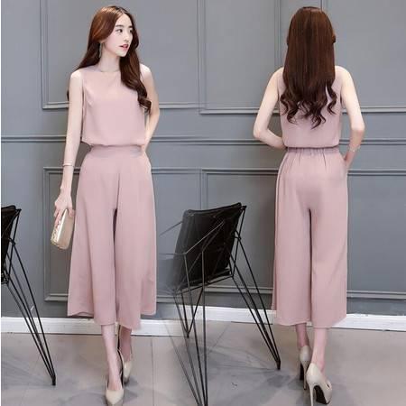 2016年夏季韩版纯色圆领无袖七分裤潮流百搭宽松两件套