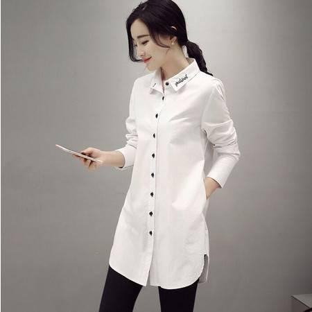 2016年春季棉纯色方领单排多扣长袖中长款修身纽扣衬衫