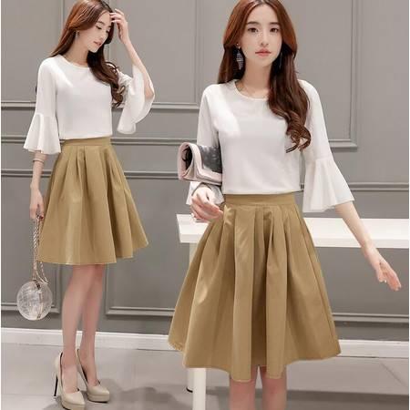 2016年夏季圆领纯色新款潮流韩版中袖纯色褶皱两件套