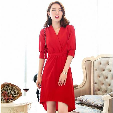 2016年夏季韩版时尚优雅七分袖纯色简约系带修身v领连衣裙