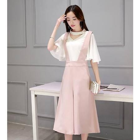 2016年夏季个性V领纯色修身短袖T恤+纯色松紧腰中场看背带裙时尚气质两件套