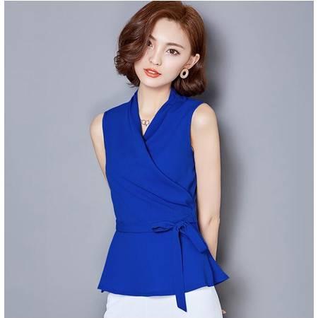 2016年夏季韩版无袖V领纯色时尚百搭修身背心